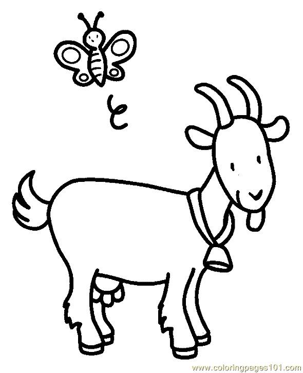 Coloriage et dessins gratuits Chèvre et papillon à imprimer