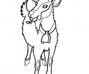 Coloriage Chèvre porte une pomme dans la bouche