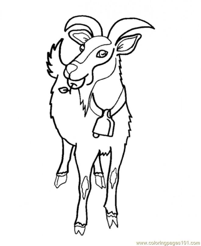 Coloriage et dessins gratuits Chèvre porte une pomme dans la bouche à imprimer