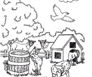 Coloriage Chèvres et chevreaux de la ferme