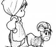 Coloriage Fille mignonne avec une Chèvre