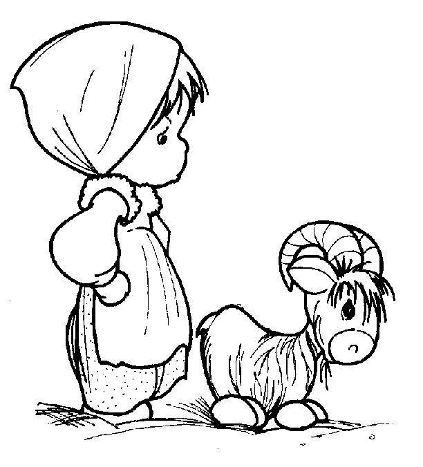Coloriage et dessins gratuits Fille mignonne avec une Chèvre à imprimer