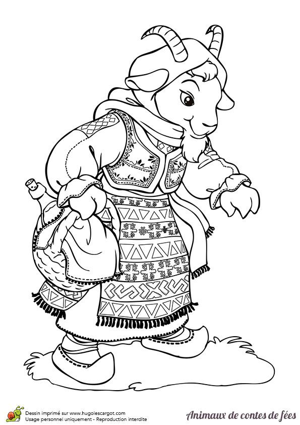 Coloriage et dessins gratuits La maman chèvre à imprimer