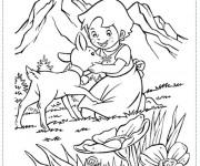 Coloriage Petite fille caresse le chevreau
