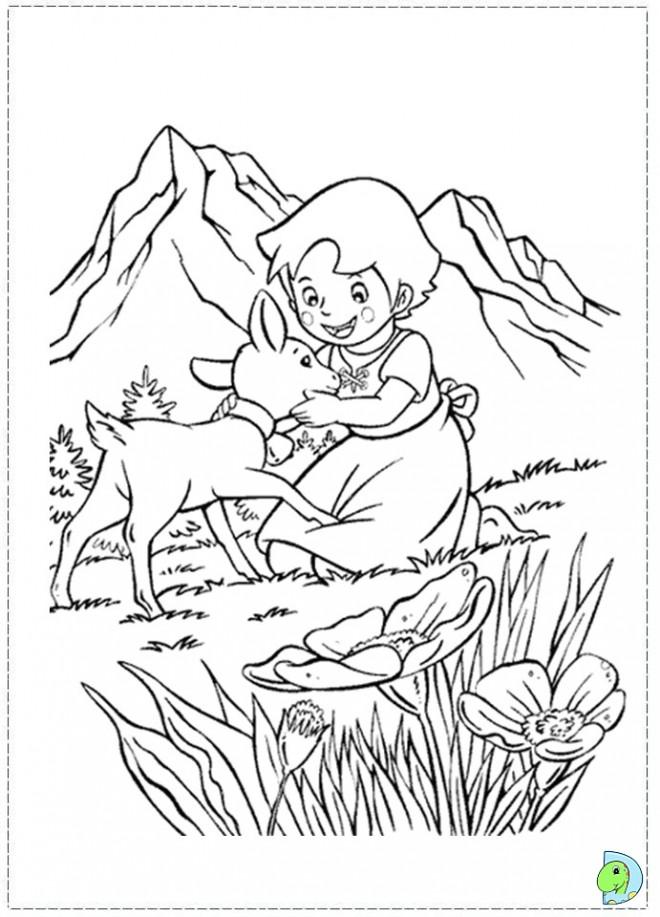 Coloriage et dessins gratuits Petite fille caresse le chevreau à imprimer