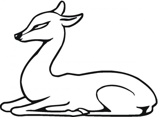 Coloriage et dessins gratuits Chevreuil assis à imprimer