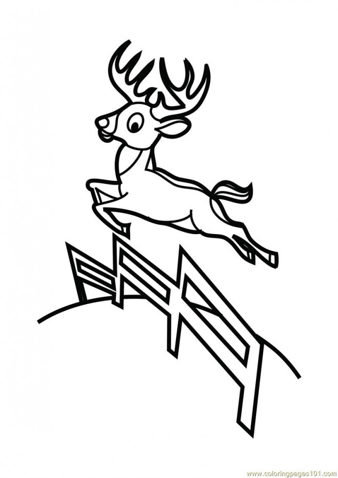 Coloriage et dessins gratuits Chevreuil sautant vecteur à imprimer