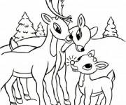 Coloriage Parents Chevreuil et leur petit