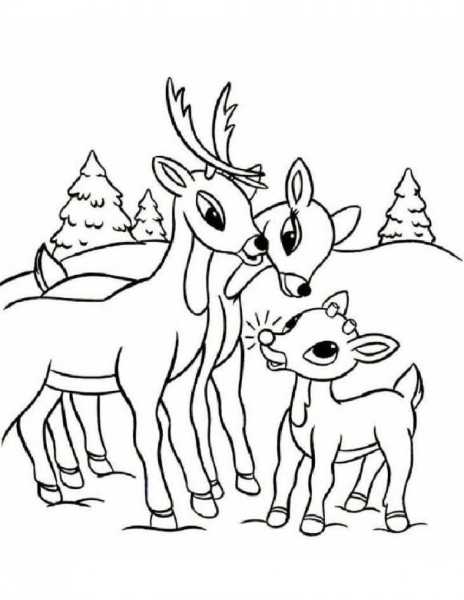 Coloriage et dessins gratuits Parents Chevreuil et leur petit à imprimer