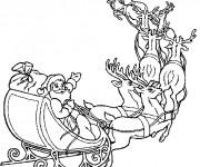 Coloriage Père Noël et ses Chevreuils