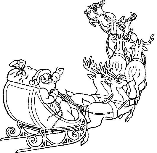 Coloriage et dessins gratuits Père Noël et ses Chevreuils à imprimer