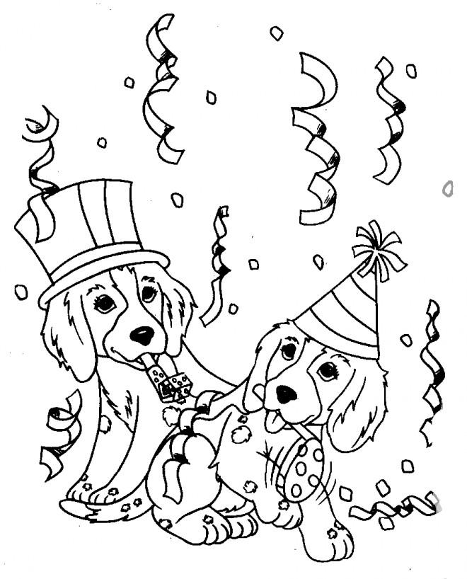 Coloriage et dessins gratuits Anniversaire de Chiots à imprimer