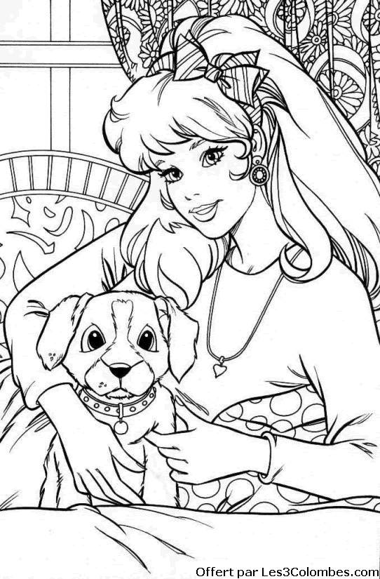 Coloriage et dessins gratuits Belle femme et son Chien à imprimer