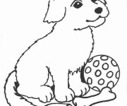 Coloriage et dessins gratuit Chien assis à imprimer