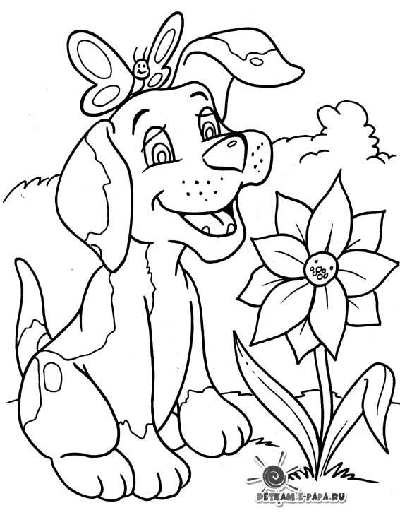 Coloriage et dessins gratuits Chien dans la nature à imprimer