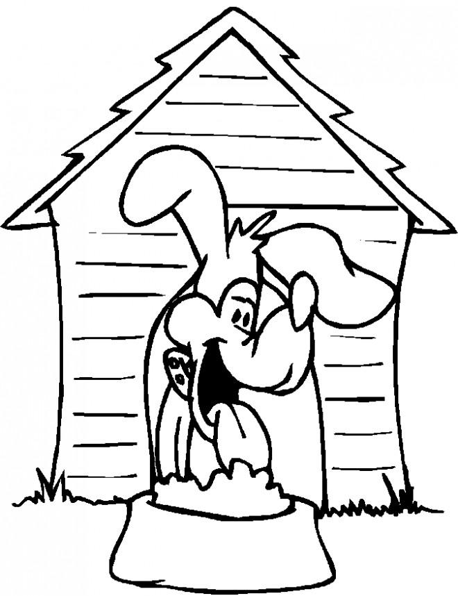 Coloriage Chien dans sa maison dessin gratuit imprimer