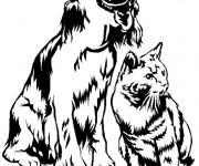 Coloriage Chien et chat en noir et blanc