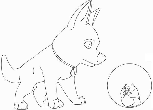 Coloriage et dessins gratuits Chien et Hamster à imprimer