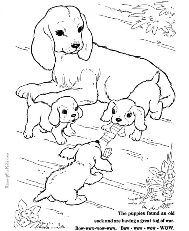 Coloriage et dessins gratuits Chien et ses petits à imprimer