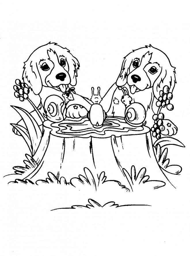 Coloriage et dessins gratuits Chiens et Escargots à imprimer