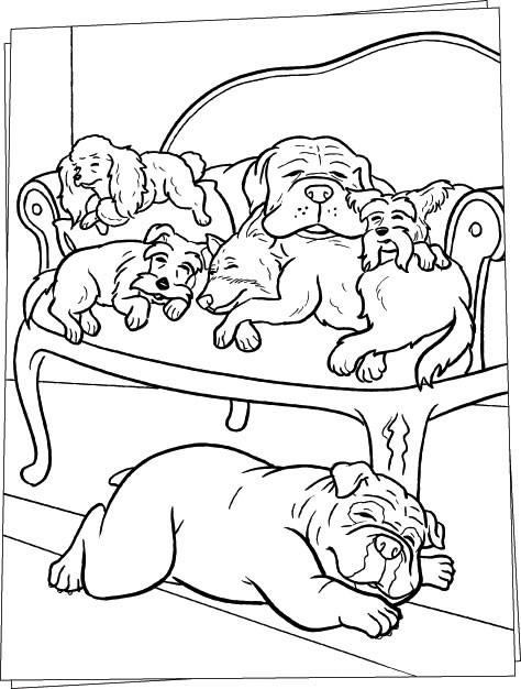 Coloriage et dessins gratuits La famille des Chiens à imprimer
