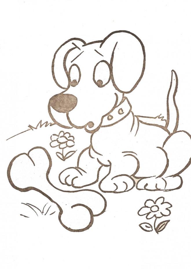 Coloriage et dessins gratuits Petit Chien surpris à imprimer