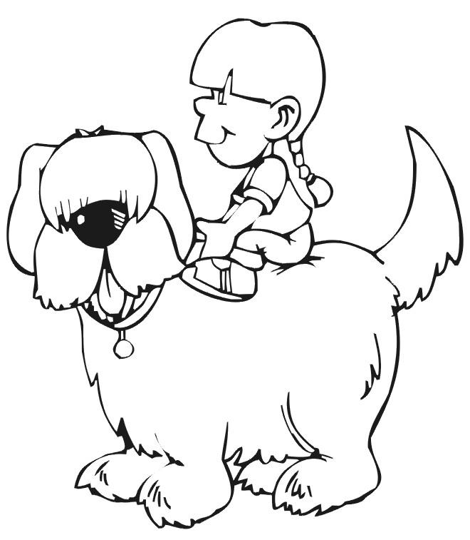 Coloriage et dessins gratuits Petite fille sur un Chien à imprimer