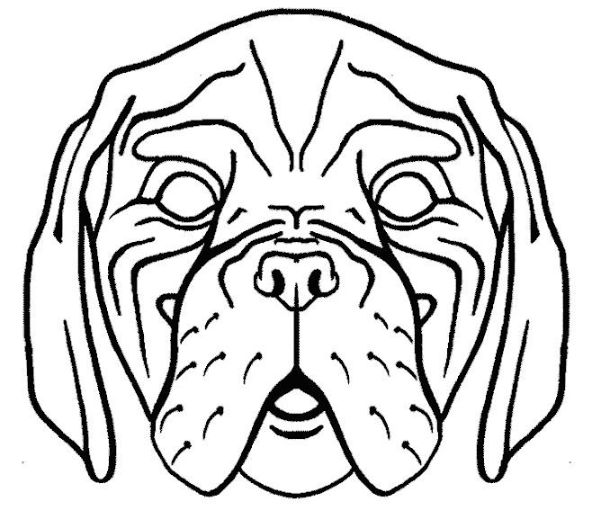 Coloriage t te de chien effrayant dessin gratuit imprimer - Masque de chat a colorier ...