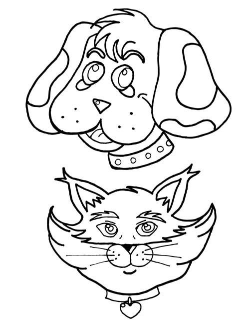 Coloriage t te de chien et chat dessin gratuit imprimer - Dessin tete de chien ...
