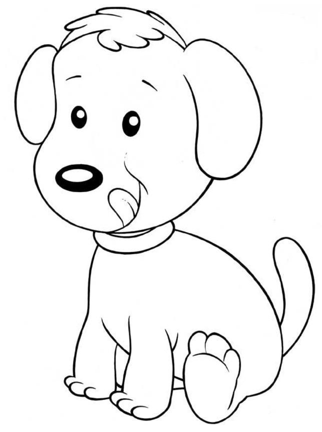 Coloriage chien facile dessin gratuit imprimer - Coloriage chiot ...