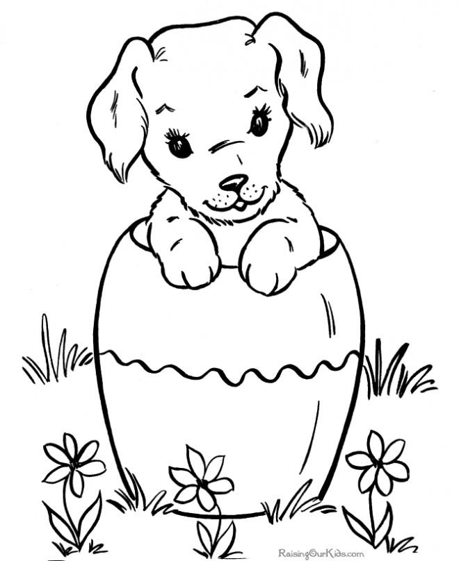 Coloriage chiot pot dessin gratuit imprimer - Coloriage chiot ...