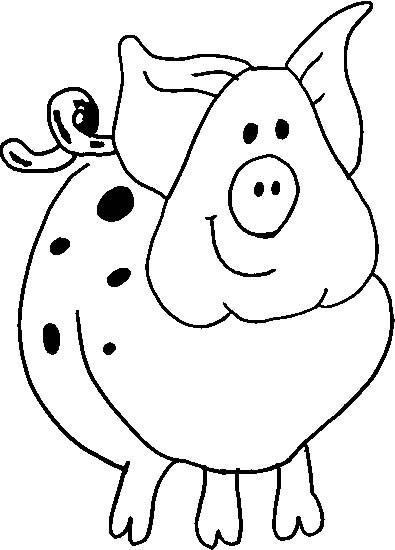 Coloriage et dessins gratuits Cochon avec des tâches à imprimer