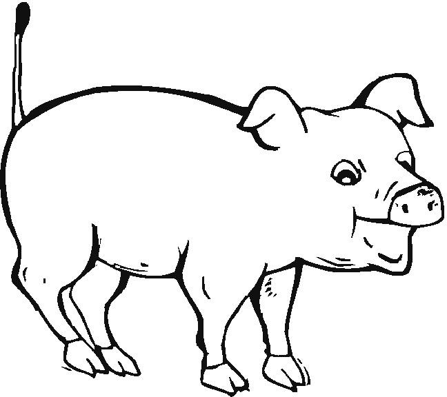 Coloriage et dessins gratuits Cochon avec la bouche ouverte à imprimer