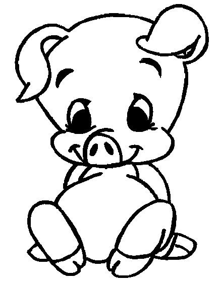 Coloriage cochon b b d couper - Dessin cochon debout ...
