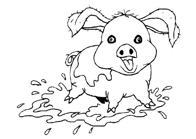Coloriage et dessins gratuits Cochon en jouant à imprimer