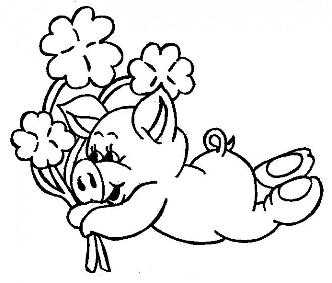 Coloriage et dessins gratuits Cochon et le bouquet de fleurs à imprimer
