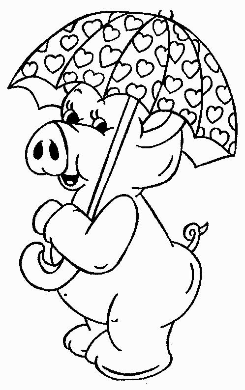 Coloriage cochon et parapluie en coeurs dessin gratuit - Dessin cochon debout ...