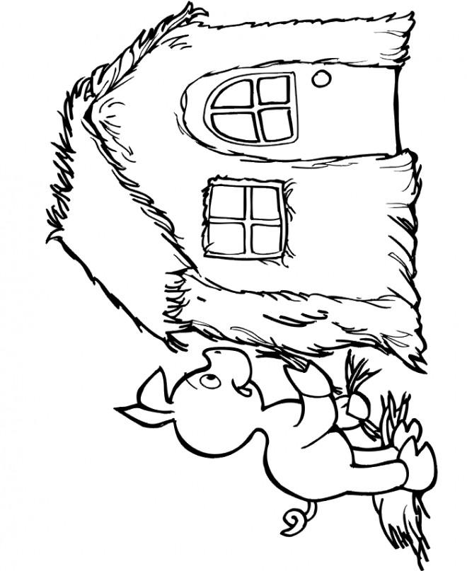 Coloriage Maison Cochon.Coloriage Cochon Et Sa Petite Maison Dessin Gratuit A Imprimer