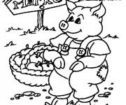 Coloriage Cochon paysan