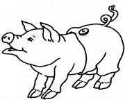 Coloriage Cochon portant un pantalon