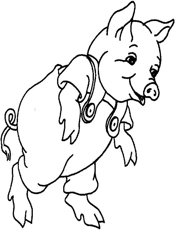 Coloriage et dessins gratuits Cochon portant une salopette à imprimer