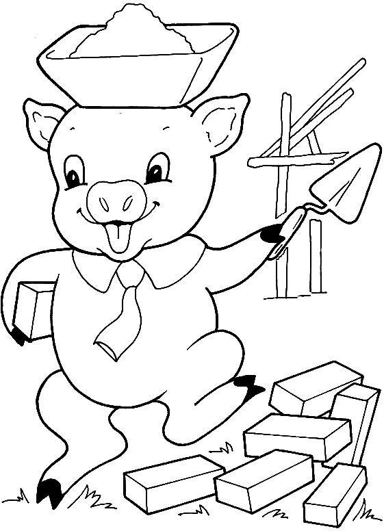 Coloriage Maison Cochon.Coloriage Cochon Qui Construit Sa Maison Dessin Gratuit A Imprimer