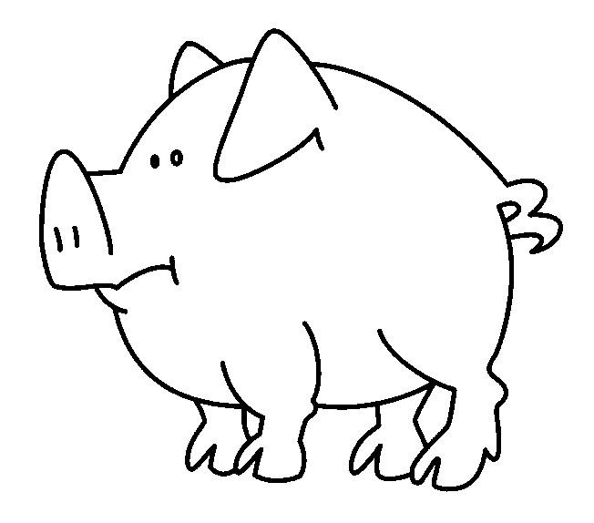 Coloriage cochon simple dessin gratuit imprimer - Cochon a dessiner ...