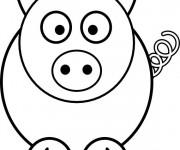 Coloriage et dessins gratuit Cochon surpris à imprimer