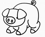 Coloriage et dessins gratuit Cochon timide à imprimer