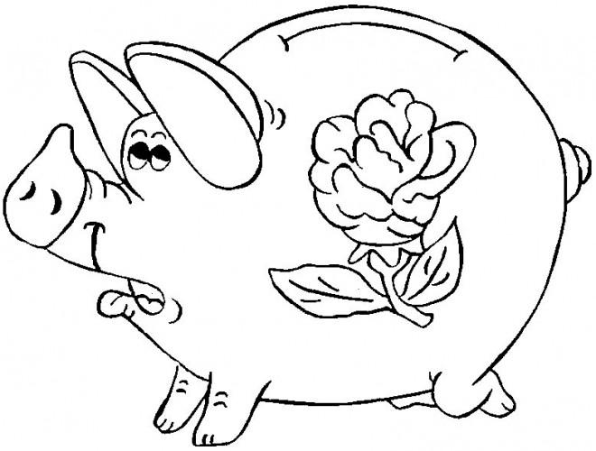 Coloriage cochon tirelire dessin gratuit imprimer - Dessin cochon debout ...