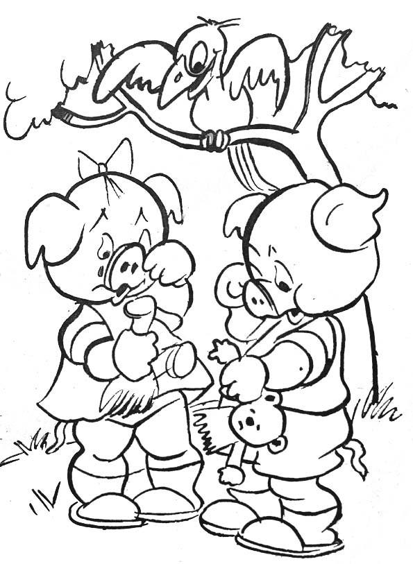 Coloriage et dessins gratuits Cochons et leur jouet à imprimer