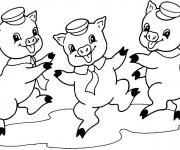 Coloriage et dessins gratuit Cochons qui dansent à imprimer