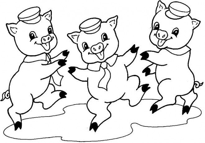 Coloriage et dessins gratuits Cochons qui dansent à imprimer