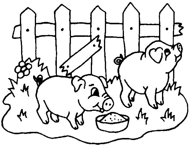 Coloriage Cochons qui mangent dessin gratuit à imprimer